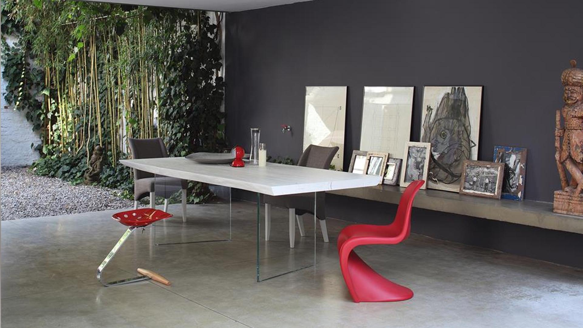 Tavoli Con Gambe Di Vetro : Tavolo collezione free table modello white con gambe in vetro